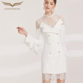 【CONIEFOX】高品質★スタンドカラー肌透けレースフリル長袖付きタイトラインミニドレス♪ホワイト 白 ワンピース ミディアムドレス