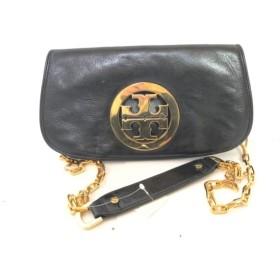 【中古】 トリーバーチ TORY BURCH ショルダーバッグ 黒 ゴールド チェーンショルダー レザー 金属素材