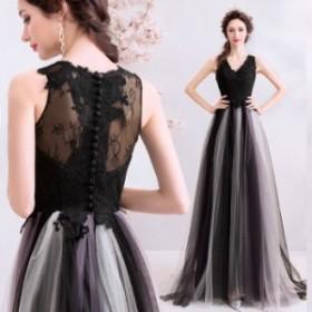 【ANGEL】ノースリーブ肌透けレースグラデーションチュールAラインロングドレス【送料無料】高品質 ブラック 黒 ロングドレス パーテ
