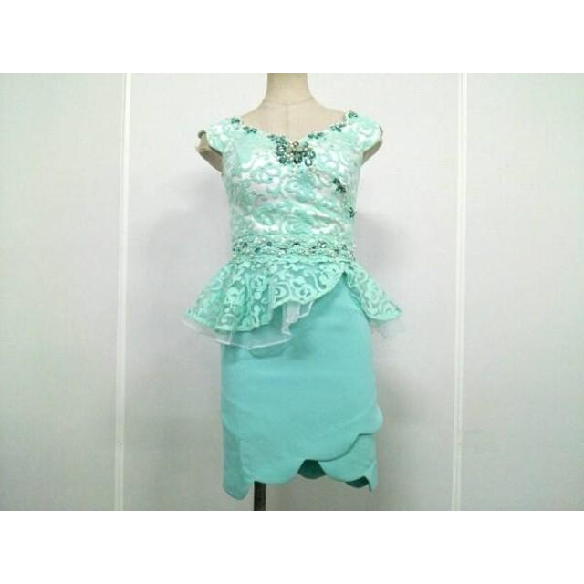 【中古】 アンディ ANDY ドレス サイズS レディース ライトグリーン 白 メッシュ/ビジュー