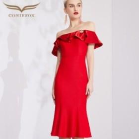 【CONIEFOX】高品質★オフショルダーフリルブローチ半袖付きマーメイドライン膝丈ドレス♪レッド 赤 ワンピース ミディアムドレス 大