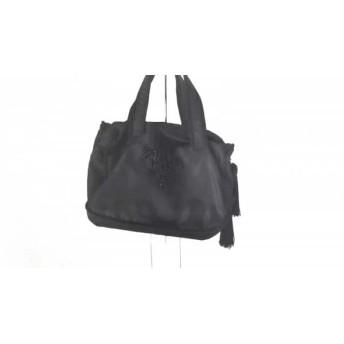 【中古】 プラダ PRADA ハンドバッグ - 黒 ミニサイズ/ビーズ/タッセル ナイロン 化学繊維