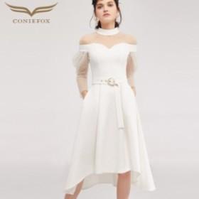 【CONIEFOX】高品質★スタンドカラー肌透けチュールパールベルト長袖付きAライン膝丈ドレス♪ホワイト 白 ワンピース ミディアムドレ