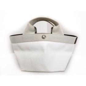 【中古】 エルベシャプリエ トートバッグ 美品 アイボリー ミニサイズ PVC(塩化ビニール) キャンバス