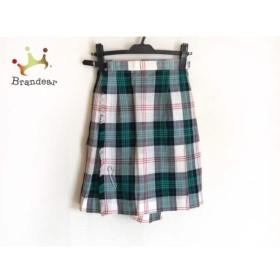 ヨークランド YORKLAND 巻きスカート サイズ9 M レディース グリーン×アイボリー×レッド     スペシャル特価 20190903