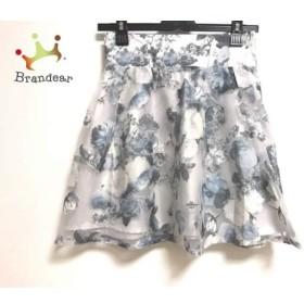 リランドチュール スカート サイズ0 XS レディース 美品 ライトグレー×ブルー×マルチ 花柄   スペシャル特価 20190815