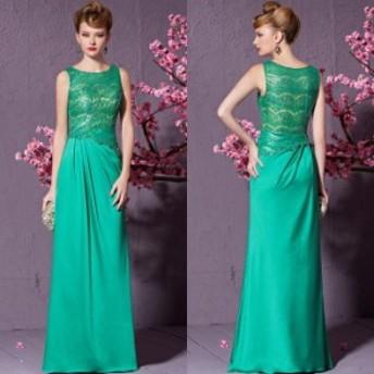 【CONIEFOX 高級ドレス】【送料無料】高品質★肌透けレーススパンコールビジュースレンダーラインロングドレス♪グリーン 緑 ロングド