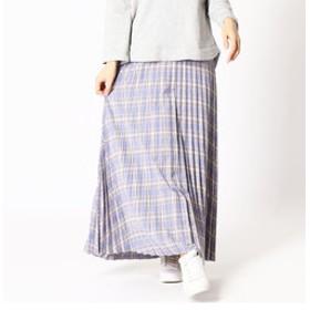【NICOLE:スカート】チェック柄プリーツロングスカート