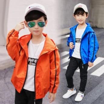 無地 薄手 ジップアップパーカー 男の子 ウィンドブレーカー 子供服 長袖ジャケット スプリングコート フード付き ブルゾンジャ