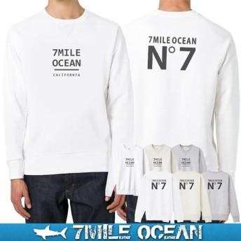 7MILE OCEAN セール価格 メンズ 長袖 トレーナー スウェット バックプリント 人気 ブランド アメカジ アウトドア スケボー 裏起毛 大きいサイズ 秋冬