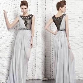 【CONIEFOX 高級ドレス】【送料無料】高品質★脚透けレースビジュービーズシフォンスレンダーラインロングドレス♪グレー シルバー【GL