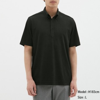 (GU)GUドライポロシャツ(半袖)(ボタンダウン)CL BLACK M