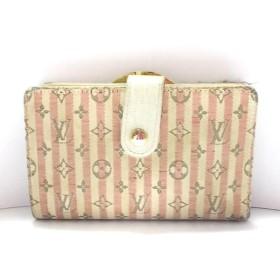 【中古】 ルイヴィトン 2つ折り財布 モノグラムミニランクロワゼット M95658 ルージュ ジャガード