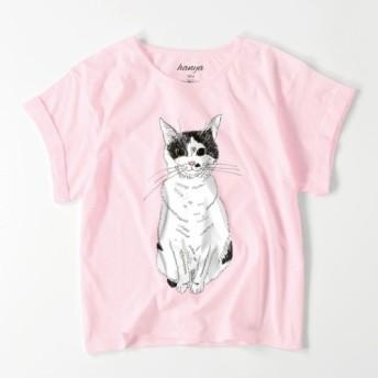 みーこ おすわり オーバーサイズTシャツ 猫 イラスト ゆったり ゆるかわ 白黒猫 保護猫 レディース