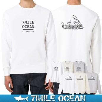 7MILE OCEAN セール価格 メンズ 長袖 トレーナー スウェット バックプリント ナイフ 人気 ブランド アメカジ アウトドア 裏起毛 大きいサイズ 秋冬