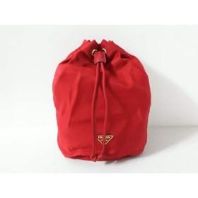 【中古】 プラダ PRADA ポーチ - レッド 巾着型 ナイロン