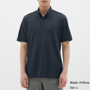 (GU)GUドライポロシャツ(半袖)(ボタンダウン)CL NAVY XL
