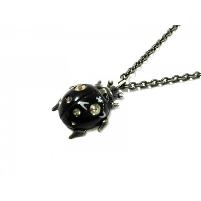 【中古】 ヴィヴィアンウエストウッド ネックレス 金属素材 ラインストーン ゴールド 黒 てんとう虫