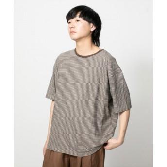 SENSE OF PLACE(センスオブプレイス) トップス Tシャツ・カットソー フレンチリネンボーダーTシャツ(半袖)