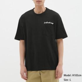 (GU)スラブビッグT(半袖)(ロゴ) BLACK L