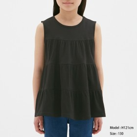 (GU)GIRLSティアードT(ノースリーブ) BLACK 150