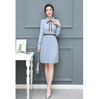 韓国ファッション 2019新品 大人気 CHIC気質 新品 女性 気質 長袖プリーツ カレッジ風 シャツ シフォンワンピース