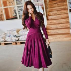 スカート スーツ 送料無料 カシュクールリブニット長袖フレア膝丈スカートスーツ♪パープル 紫 赤紫 スーツ トップス スカート