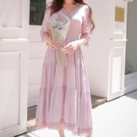 ロングワンピース 送料無料 Vネックシフォンレースシャーリングパフスリーブ五分袖付きAラインロングワンピース♪ピンク ドレス お嬢
