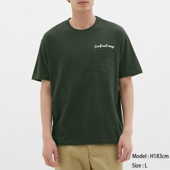(GU)スラブビッグT(半袖)(ロゴ) DARK GREEN M