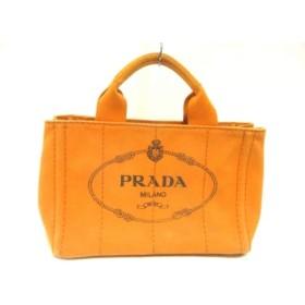 【中古】 プラダ PRADA トートバッグ CANAPA BN2439 オレンジ 黒 キャンバス