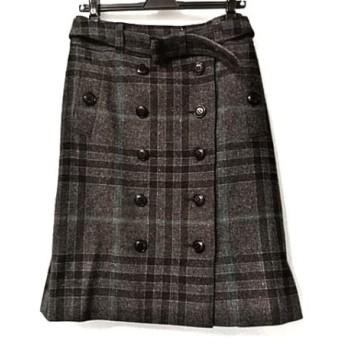 【中古】 バーバリーロンドン 巻きスカート サイズ40 L レディース ダークグレー グレー チェック柄