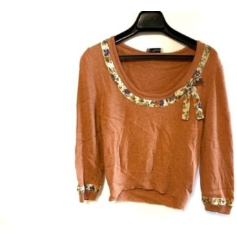 【中古】 ブルマリン 七分袖セーター サイズF レディース 美品 オレンジ アイボリー マルチ リボン/花柄