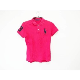 【中古】 ラルフローレン RalphLauren 半袖ポロシャツ サイズL レディース ビッグポニー レッド 黒