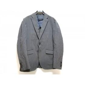 【中古】 キャサリンハムネット ジャケット サイズL メンズ 黒 グレー ブルー ストライプ