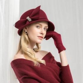 【女優ハット★送料無料】パールラインストーンリボン付き女優ウールハット♪ワイン レッド 赤 ハット レディース 女優帽 ヘッドド