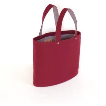 だ円形のトートバッグ ワイン 倉敷帆布使用 華シリーズ180621w