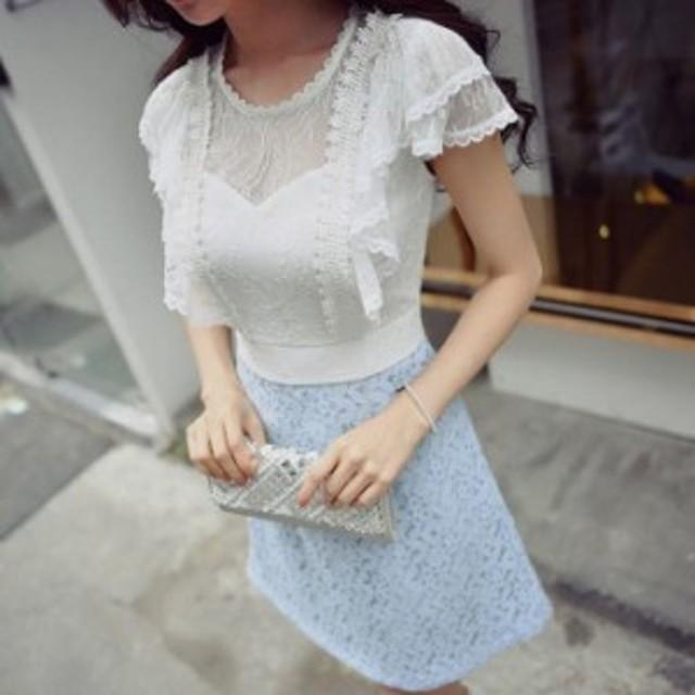 【ワンピース★送料無料】肌透けチュールレースフリルフレアスリーブ半袖付きAラインミニワンピース♪ブルー 水色 ホワイト 白 お嬢