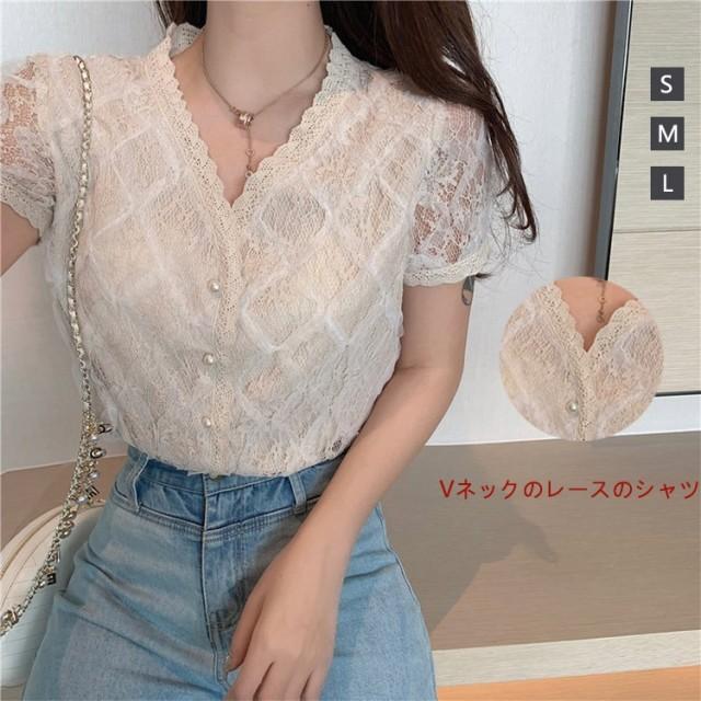 Vネックのレースのシャツ夏女装新モデルのフランス式サイトフレッシュ纱斩男タイツ韓国ファッション
