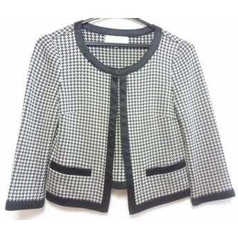 【中古】 エムプルミエ M-PREMIER ジャケット サイズ36 S レディース 白 黒 千鳥格子