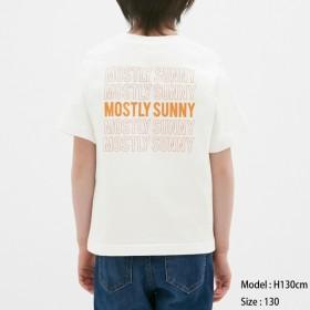 (GU)BOYSグラフィックT(半袖)(バックプリント2) OFF WHITE 130