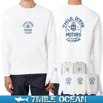 7MILE OCEAN セール価格 メンズ 長袖 トレーナー スウェット バックプリント スカル ドクロ 人気 ブランド アメカジ アウトドア 裏起毛 大きいサイズ 秋冬