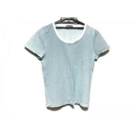 【中古】 マーガレットハウエル 半袖Tシャツ サイズ2 M レディース ネイビー アイボリー ボーダー