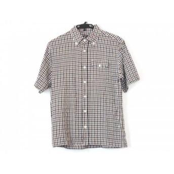【中古】 ブリティッシュグリーン 半袖シャツ サイズM メンズ 白 ブラウン 黒 マルチ チェック柄