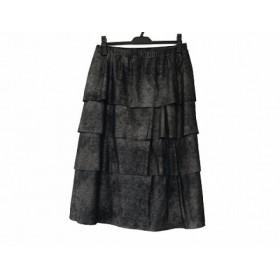 【中古】 ヒロコビス HIROKO BIS スカート サイズ15 L レディース 美品 ダークグレー ティアード