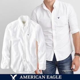 セール特価 メール便 送料無料 アメリカンイーグル/メンズ/長袖/ボタンシャツ/ホワイト オックスフォード シャツ 白 BIGSIZE
