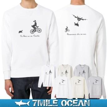 7MILE OCEAN セール価格 メンズ 長袖 トレーナー スウェット バックプリント ドローン 人気 ブランド アメカジ アウトドア 裏起毛 大きいサイズ 秋冬