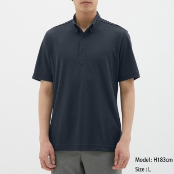 (GU)GUドライポロシャツ(半袖)(ボタンダウン)CL NAVY L