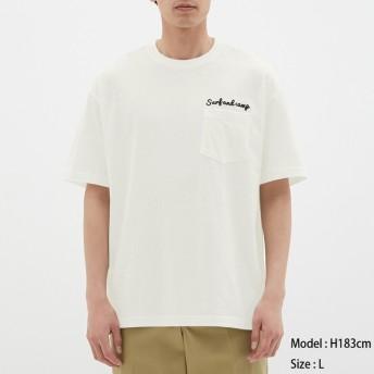 (GU)スラブビッグT(半袖)(ロゴ) WHITE S