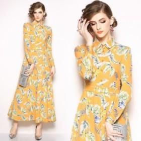 春新作 ワンピース レディース ロングドレス イエロー 花柄 フレア 夏服 大きいサイズ  ロング丈 リゾート お呼ばれドレス