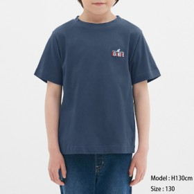 (GU)BOYSグラフィックT(半袖)(刺繍) NAVY 110